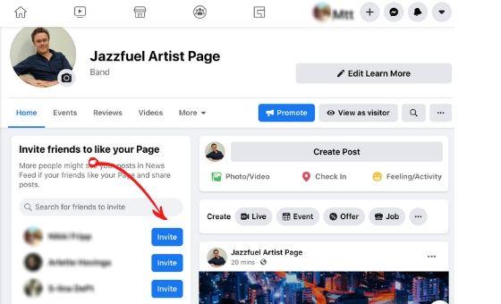 Invite Friends on Facebook Artist Page