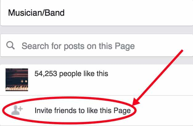 Invite Friends to your Facebook Artist Page